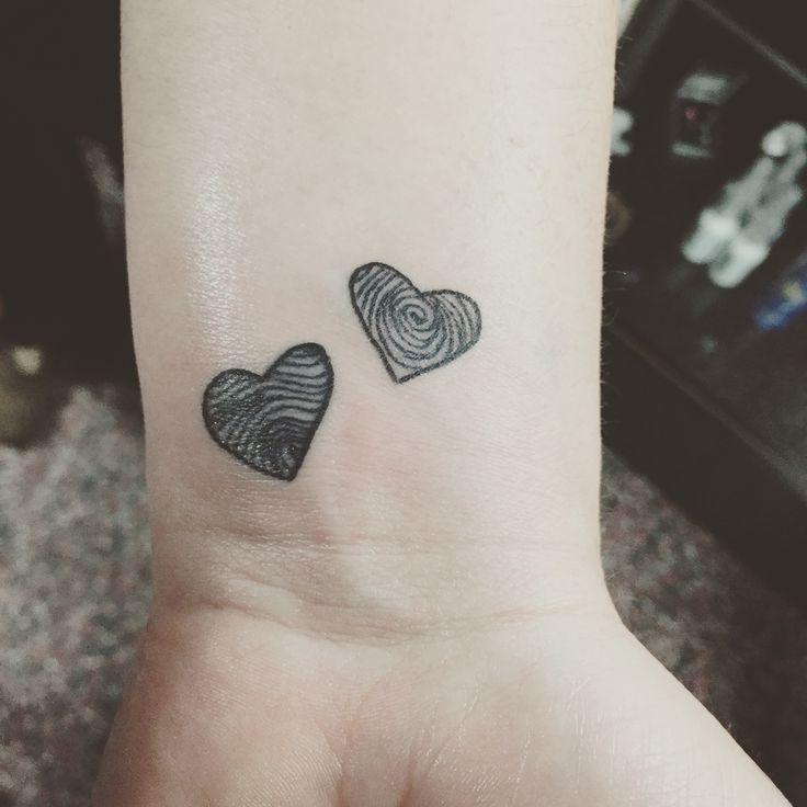 Black fingerprint heart tattoos In love with my wrist tattoo! ❤