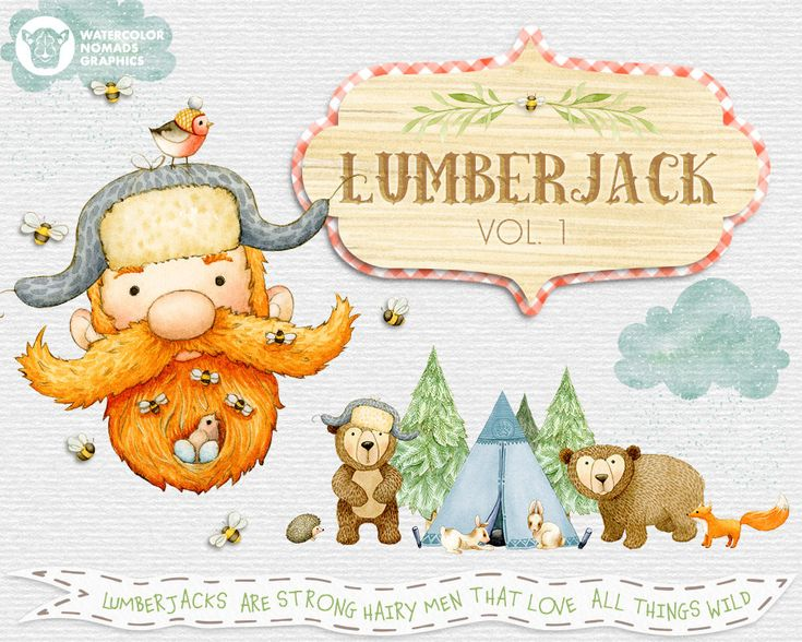 Lumberjack & Woodland Animals Clipart Illustrations, lumberjack Christmas, wild one invite diy, scrapbook, manly, plaid, beard, ginger