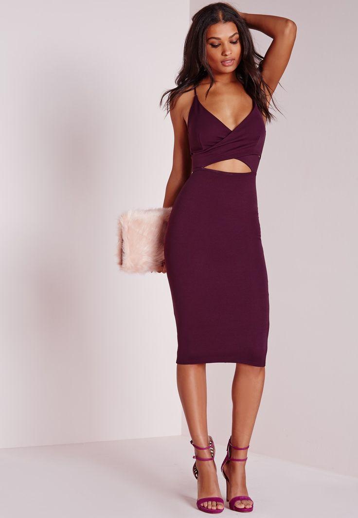 Missguided - Scuba Strappy Cut Out Midi Dress Purple