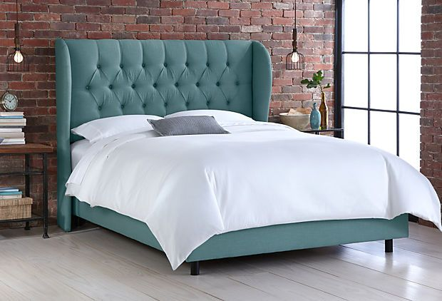 One Kings Lane Get It Fast Parker Wingback Bed Teal Wingback Bed Bed