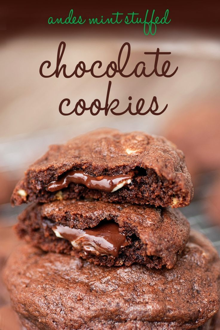Andes Mint Stuffed Chocolate Cookies #dessert #stepable
