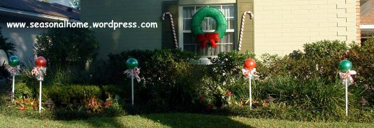 Handmade outdoor holiday candy pops from The Seasonal Home.com