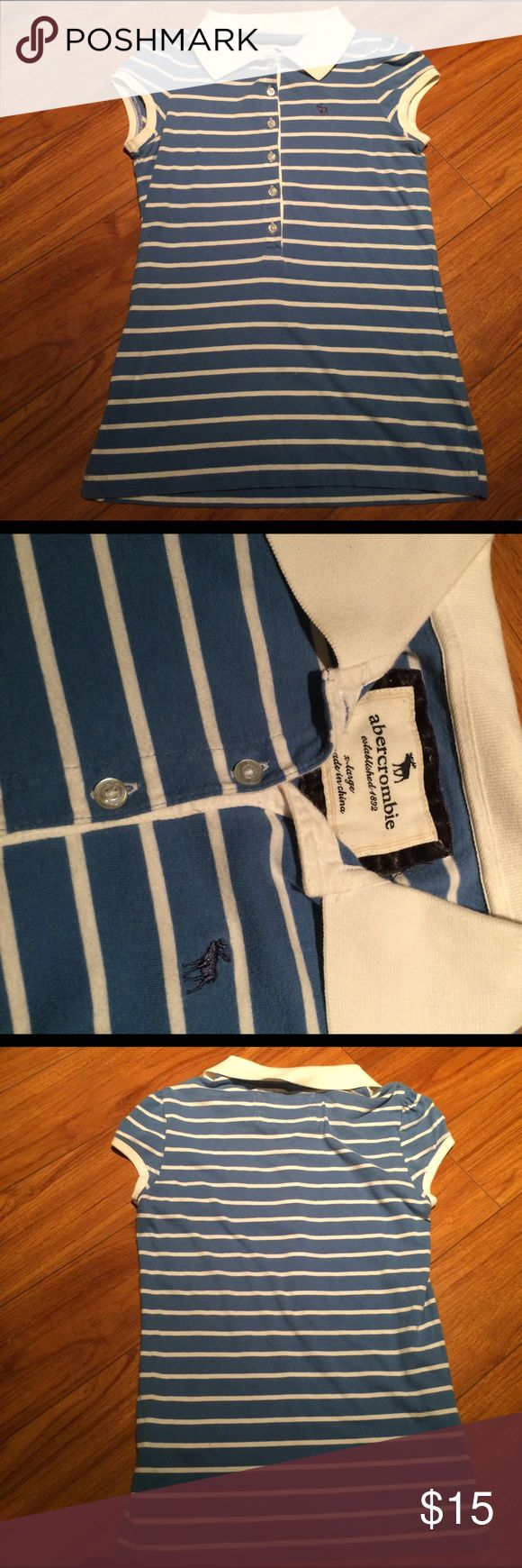 A blue and white striped polo shirt A blue and white striped polo shirt with white trimming and have worn a couple of times. Says X-large but would say it will fit a small or medium better. Open to offers Abercrombie & Fitch Tops