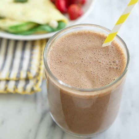 Cashew butter makes this chocolate banana smoothie extra thick and delicious. Add some protein powder for a more filling snack or breakfast option.