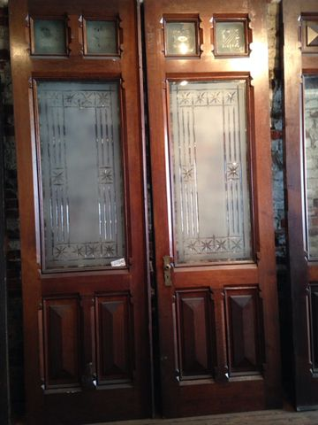 Victorian Cut Etched Glass Carved Front Entry Doors