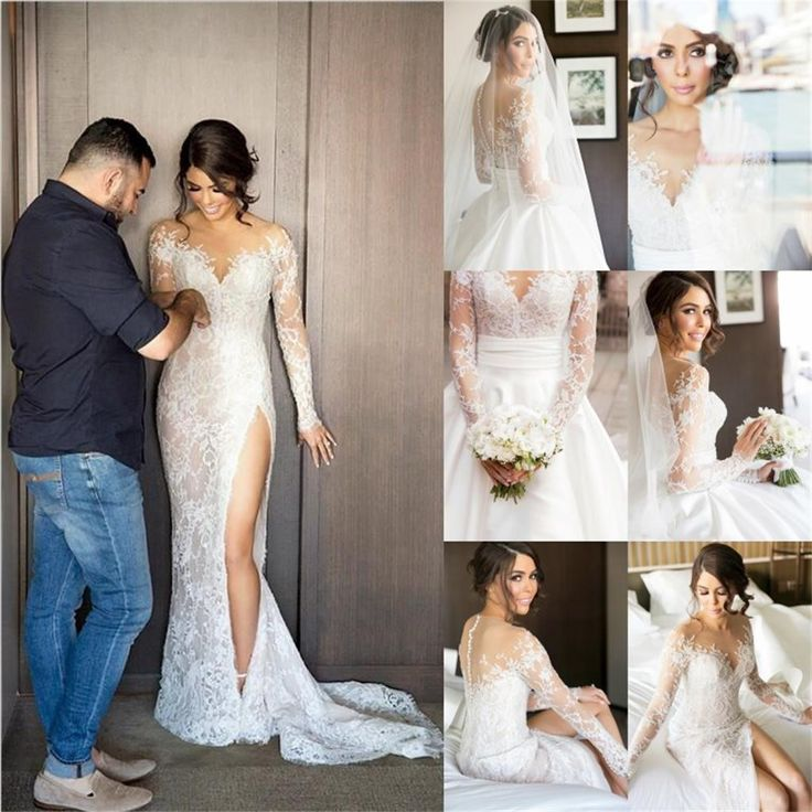 2017 new full lace split wedding dresses illusion back bridal gowns with detachable satin skirt
