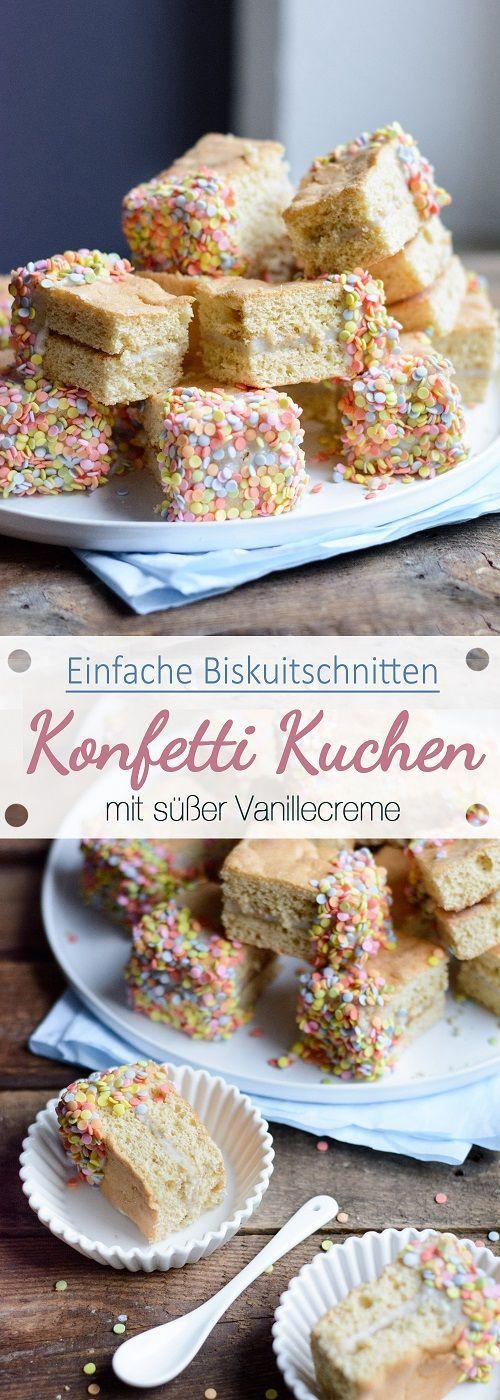Dicke Biskuitschnitten mit Vanille und süßem Konfetti