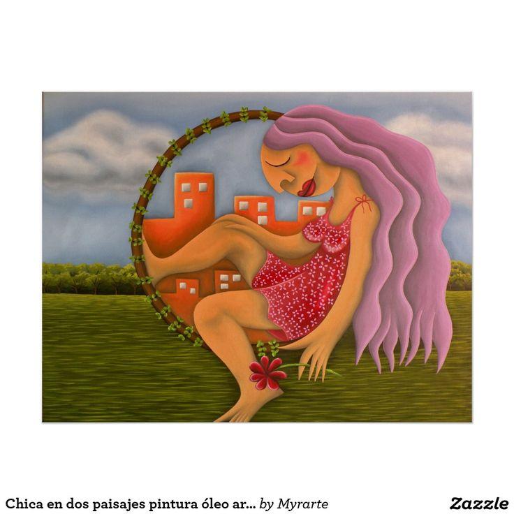 Chica en dos paisajes pintura óleo arte. Producto disponible en tienda Zazzle. Product available in Zazzle store. Regalos, Gifts. Link to product: http://www.zazzle.com/chica_en_dos_paisajes_pintura_oleo_arte_poster-228807983186217567?CMPN=shareicon&lang=en&social=true&rf=238167879144476949 #poster