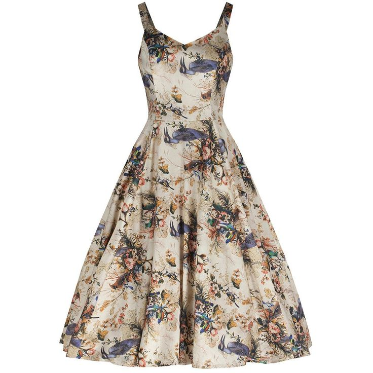 Natural Bird Print Swing Cotton Swing Dress