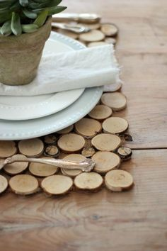 For an easy and inexpensive way to admire nature's bounty, mix and match different sizes of wood chips to make these rustic placemats. Get the tutorial at Craftberry Bush.