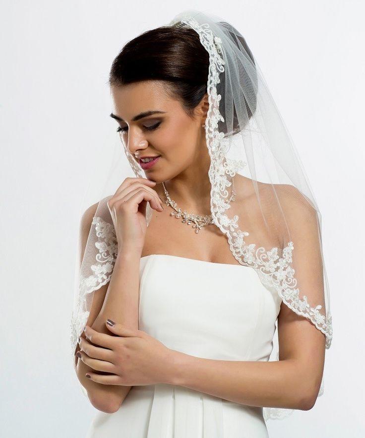 Mariage en Rose - Voile court bordé de dentelle façon mantille