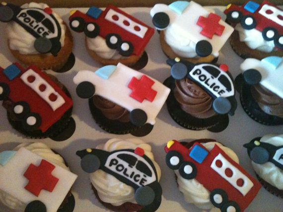 12 Emergency Vehicles Cupcake Toppers by SugarMonkeyCupcakes, $24.99