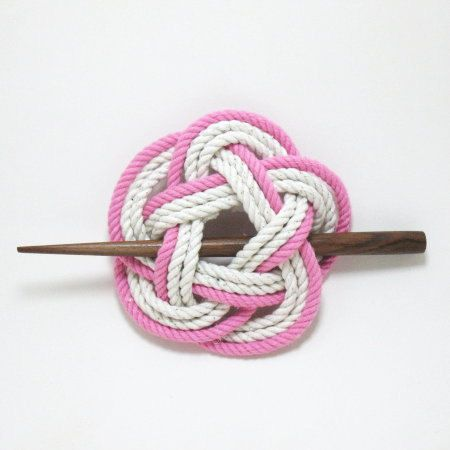 Sailor Knot Hair Stick Barrette in Pink and by MysticKnotwork