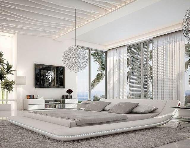 DELIFE Bett Perfecta Weiss 180x200cm Polsterbett mit LED Beleuchtung von Delife