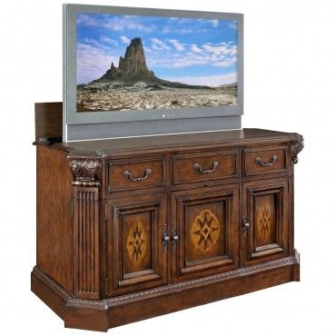 beautiful handcarved tv lift cabinet willowcraft i just hate tv on display in