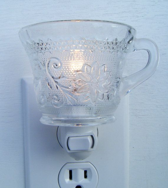 Tiara Clear Sandwich Glass Small Punch Cup  Night Light by micah7, $10.99