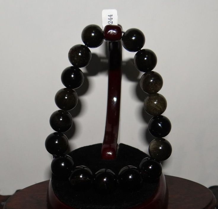 "0.5"" China Certificated Nature Gold Obsidian Round Pearls Bangle Bracelets"