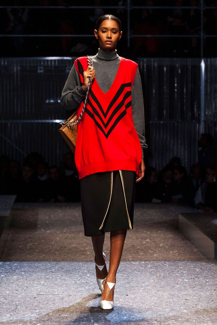 Prada - could try this idea in reverse with grey deep v Saba knitted vest