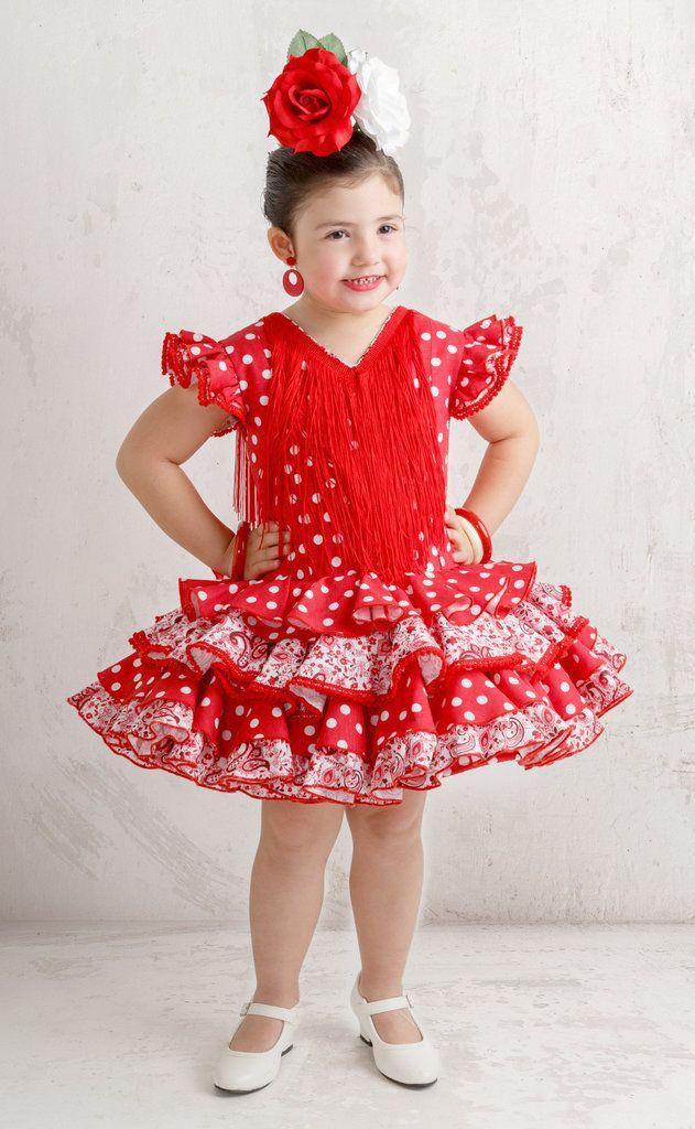 fad5f9981 Traje de gitana para niña lino rojo lunar blanco | Manolas | Trajes ...