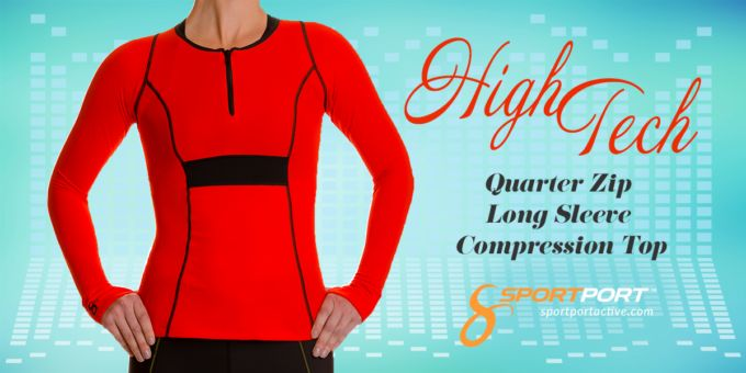 New Arrival! Long Sleeve Zip Compression Top