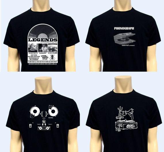 Lot Of 4 Men T Shirt Print Dj Turntable Music 100% by BANKUSSI