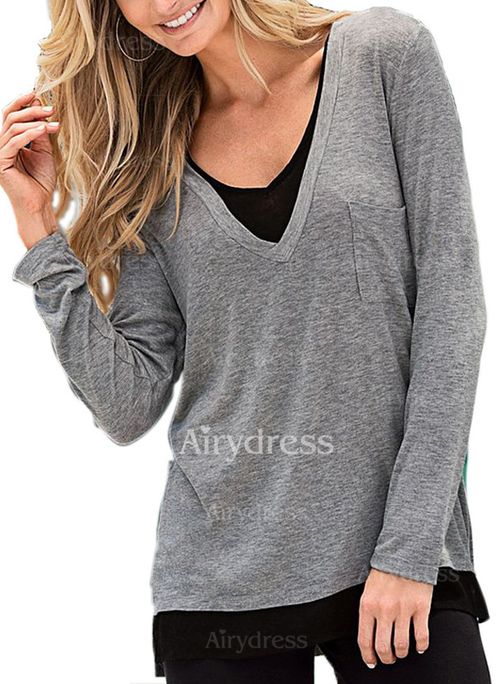 T-shirts - $15.96 - Polyester Color Block Round Neck Long Sleeve Casual T-shirts & Vests (1685124662)
