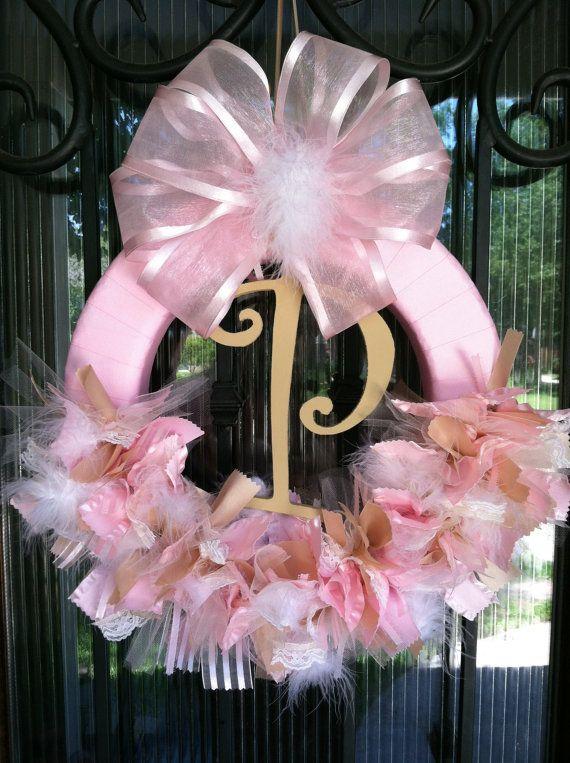 Baby Ribbon Wreath Nursery Hospital Door Baby Shower by JoowaBean, $65.00