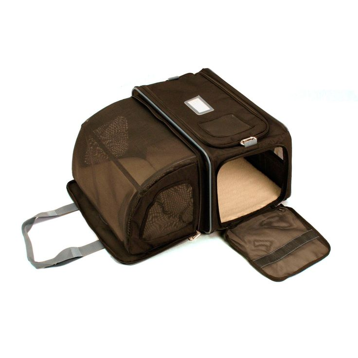 COOL! Small pet carrier has a fold-out room on the side for 64% extra space! Great for long traveling situations in which your pet has to spend extended time in its carrier. AND it has a top-loading opening--which I think is ideal when you have a reluctant cat to put inside. Brinkmann Small Smart Space Carrier $69.99