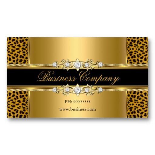 Elegant Gold Cream Leopard Black Animal Business Card Template