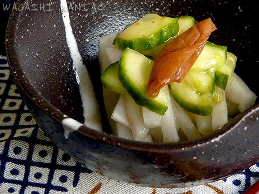 Umeboshi salad and kabocha pumpkin with azuki beans