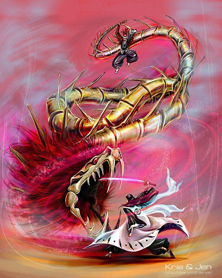 More Bleach Awesomeness. Renji's attacking Byakuya with Zabimaru's Bankai