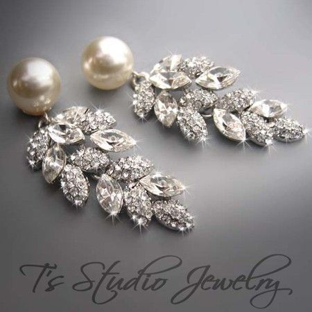 Carolyn Pearl Bridal Chandelier Earrings Wedding Jewelry Ivory And Crystal Rhinestone Other Colors Available These Are