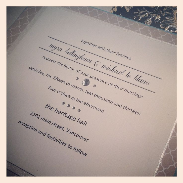 A simple design for the chic couple #wedding #invitations #Vancouver #handmade http://www.blisspaper.com