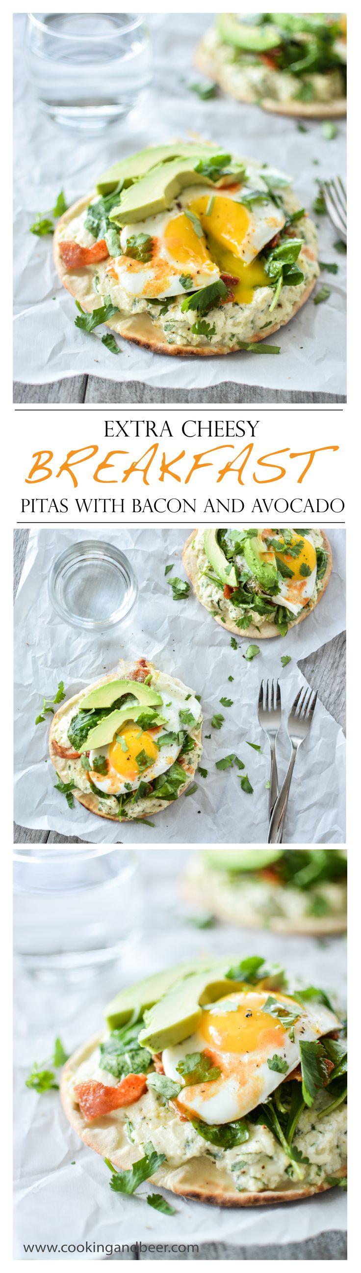 Extra Cheesy Breakfast Pitas with Bacon and Avocado    www.cookingandbeer.com   @jalanesulia