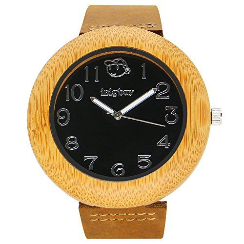 iBigboy China Wooden Watch Natural Bamboo Wood Wrist Watch Fashion Casual Gift Leather Watches IB1611Ba ** Visit the image link more details.
