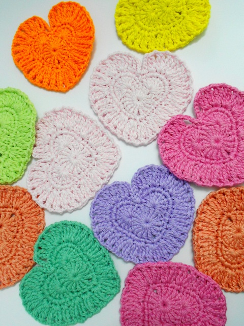 Crochet Heart coasters/cup pads Firefly Crochet by Chieu ...