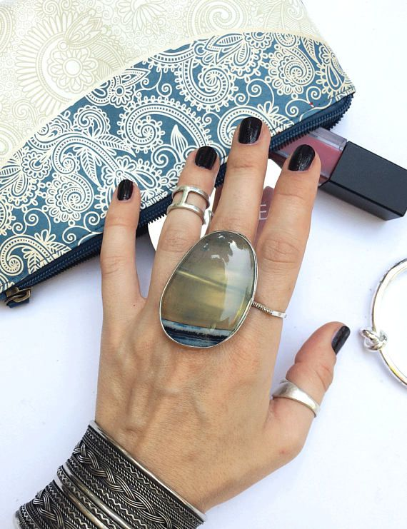 Beautiful ring with big stone ring blue agate natural stone