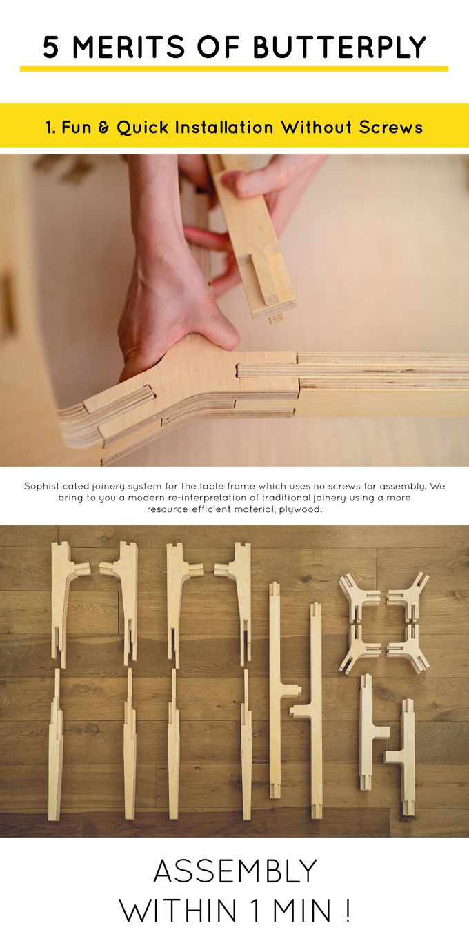 Butterply Desk requires no screw nor tools to assemble. The desk height can be personalized. It also comes with functional modules.
