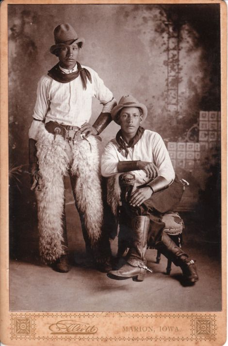 African American cowboys - in Piedmont, West Virginia. What led to this photo being taken? Either a Wild West show was in town, or these fellows had a thing for cowboy style.