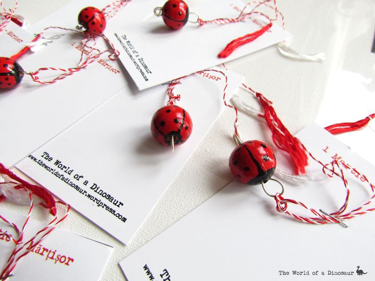 Handmade 1st of March tokens. Hand painted wooden beads with ladybug designs. #Mărțișor #Token #Tradition #handmade #handpainted Read here the tradition of the 1st of March: http://theladysdowry.wordpress.com/2014/02/27/1st-of-march-martisor-and-baba-dochia/