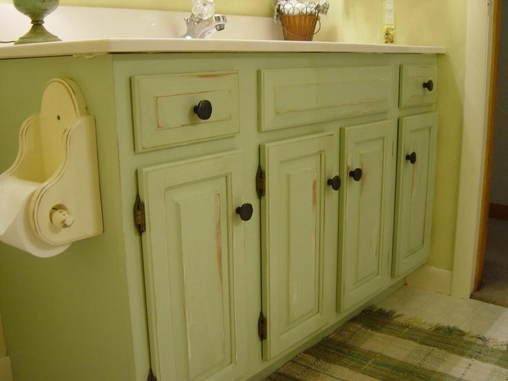 repainted and distressed bathroom vanity bathroom