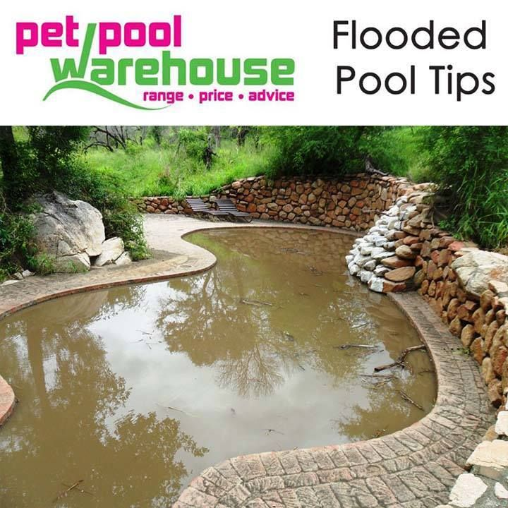 Pet Pool Warehouse Knysna Flooded pool tips: After a rainstorm, swimming pool water may become green and dirty from algae and debris. It is best to clean up immediately after a storm so algae do not multiply and make the water greener, especially during warmer weather. #swimmingpool #poolcare