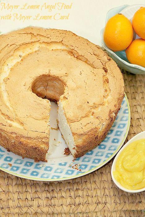 Tão deliciosa!  Eu não posso esperar para fazê-lo novamente!  Saudável, baixa caloria, baixo teor de gordura, Sobremesa - Meyer Lemon Angel Food com coalhada de limão Meyer