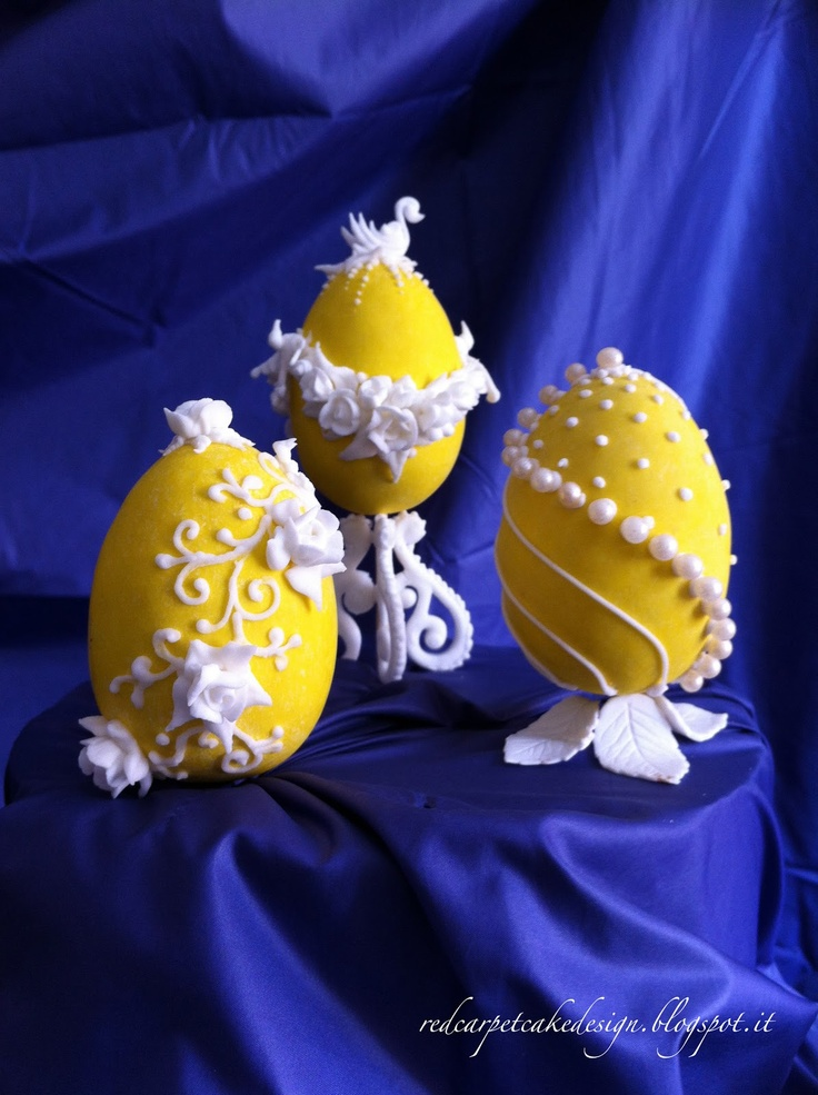 FABERGE' EGGS-YELLOW Royal Icing by Red Carpet Cake Design
