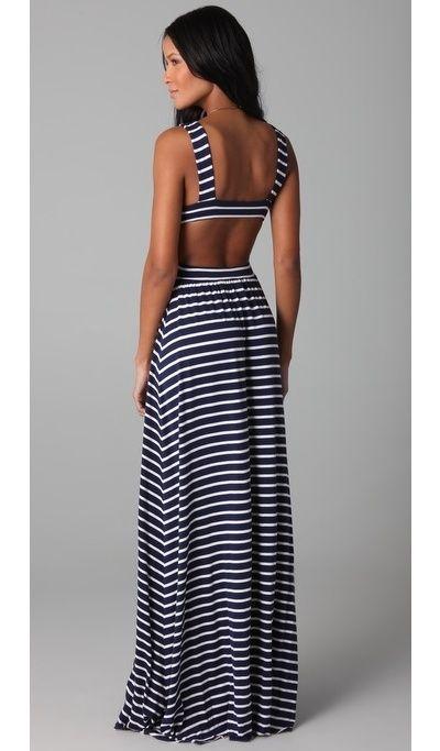 Stipe Cutout Dress by Rachel PallyLong Dresses, Long Summer Dresses, Cutout Dresses, Backless Dresses, Stripes Cutout, Maxis Dresses, Cut Out, Open Back, Rachel Pally