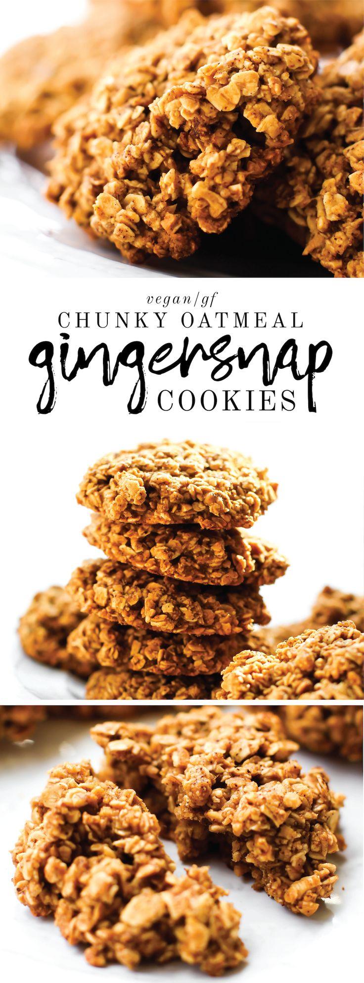 Chunky Vegan Oatmeal Gingersnap Cookies {gluten-free & oil-free} //PINTEREST: selinaa//