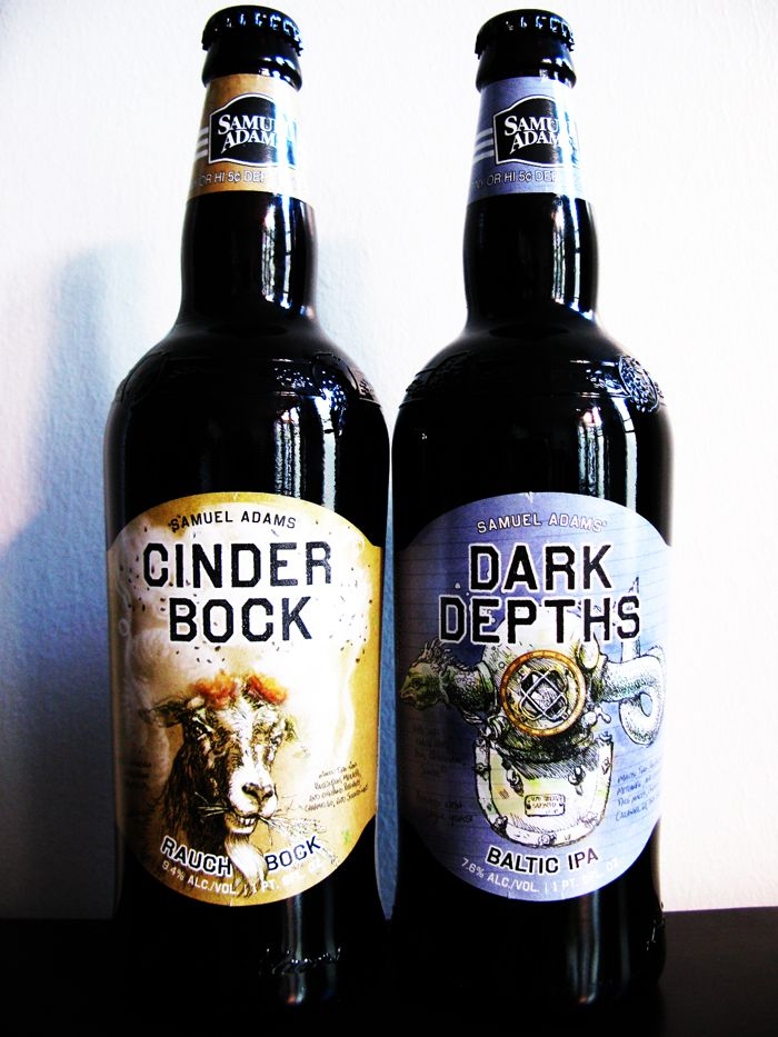 Samuel Adams Cinder Bock and Dark Depths Baltic IPA.