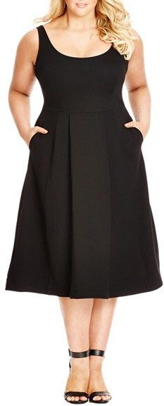 Plus Size Women's City Chic Classic Longline Scoop Neck Midi Dress