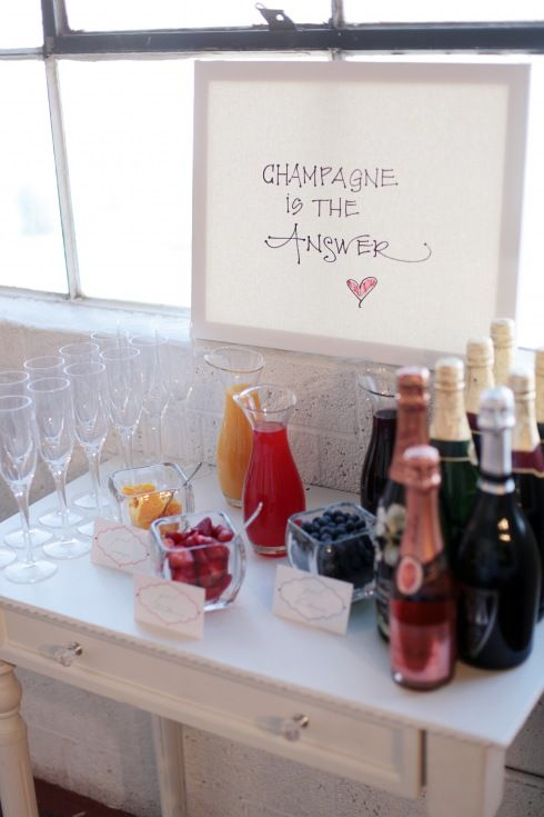Champagne bar... for brides and bridesmaids the morning of the wedding;)
