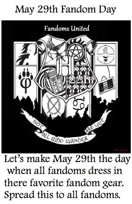 Fandom day! SPREAD THE WORD. This has to happen. It's coming up! Don't forget, my fellow fangirls/boys!!!!!